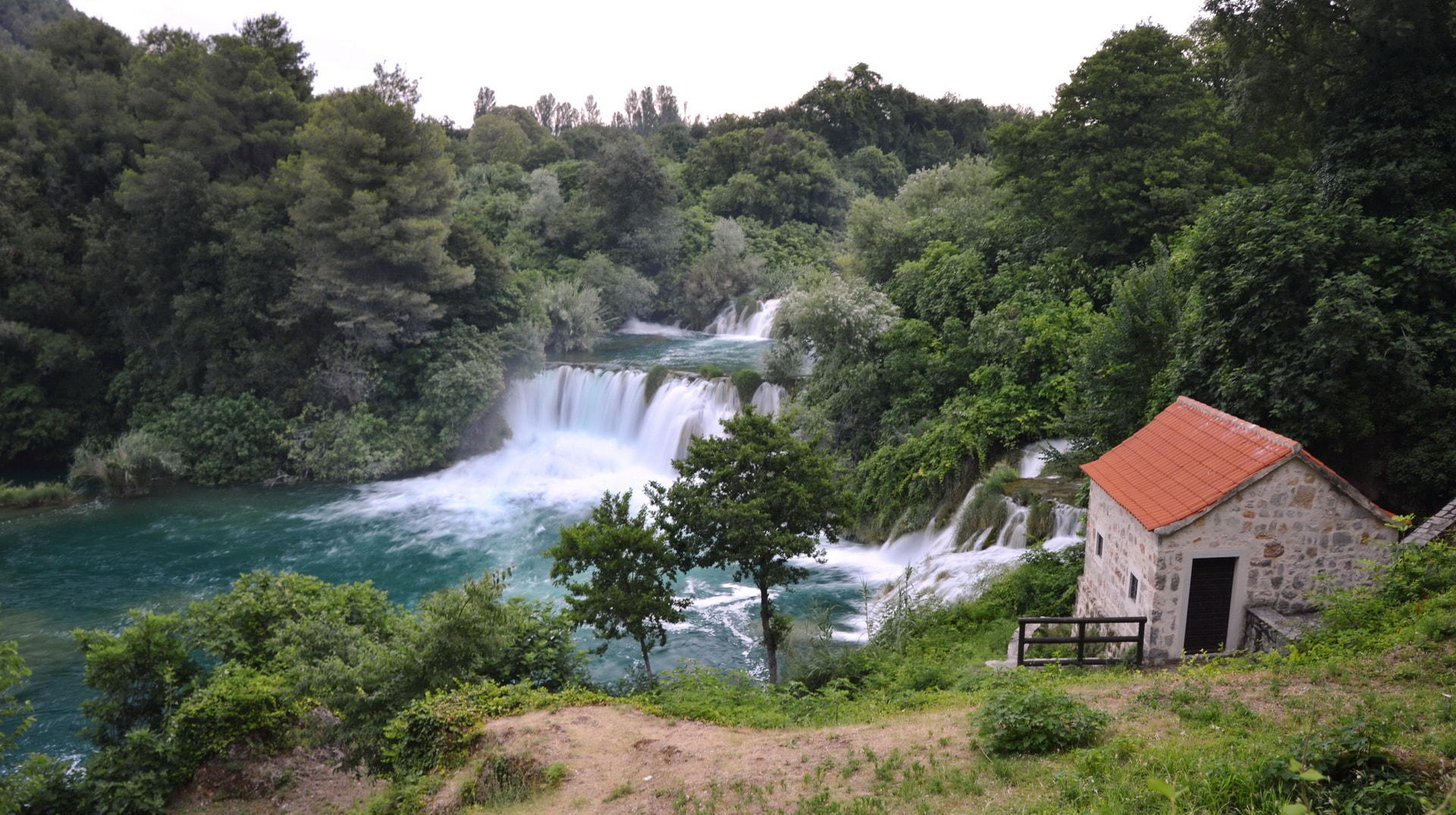 The upper part of Skradinski buk waterfall
