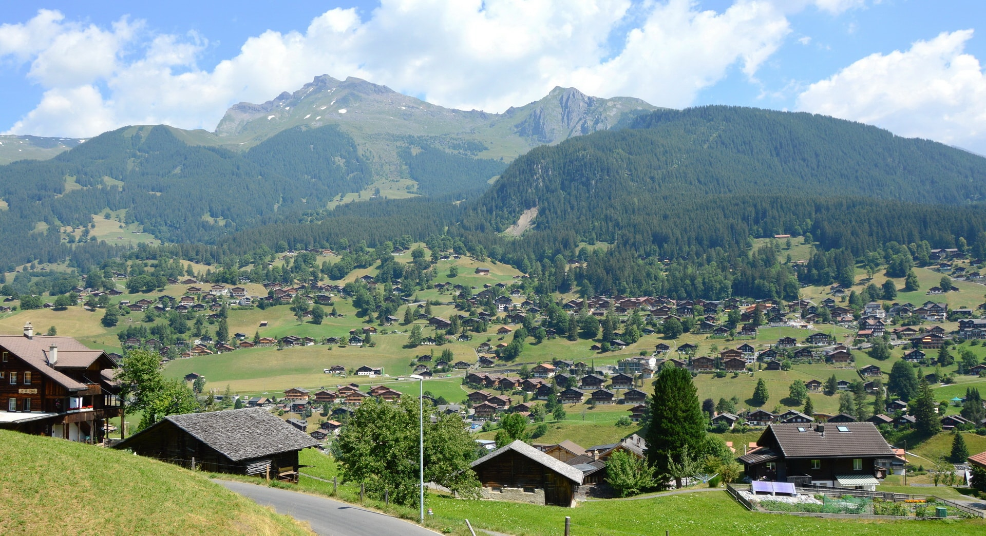Grindelwald valley full of traditional wooden houses