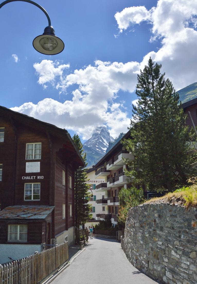 Walking the streets, Matterhorn often pops among roofs