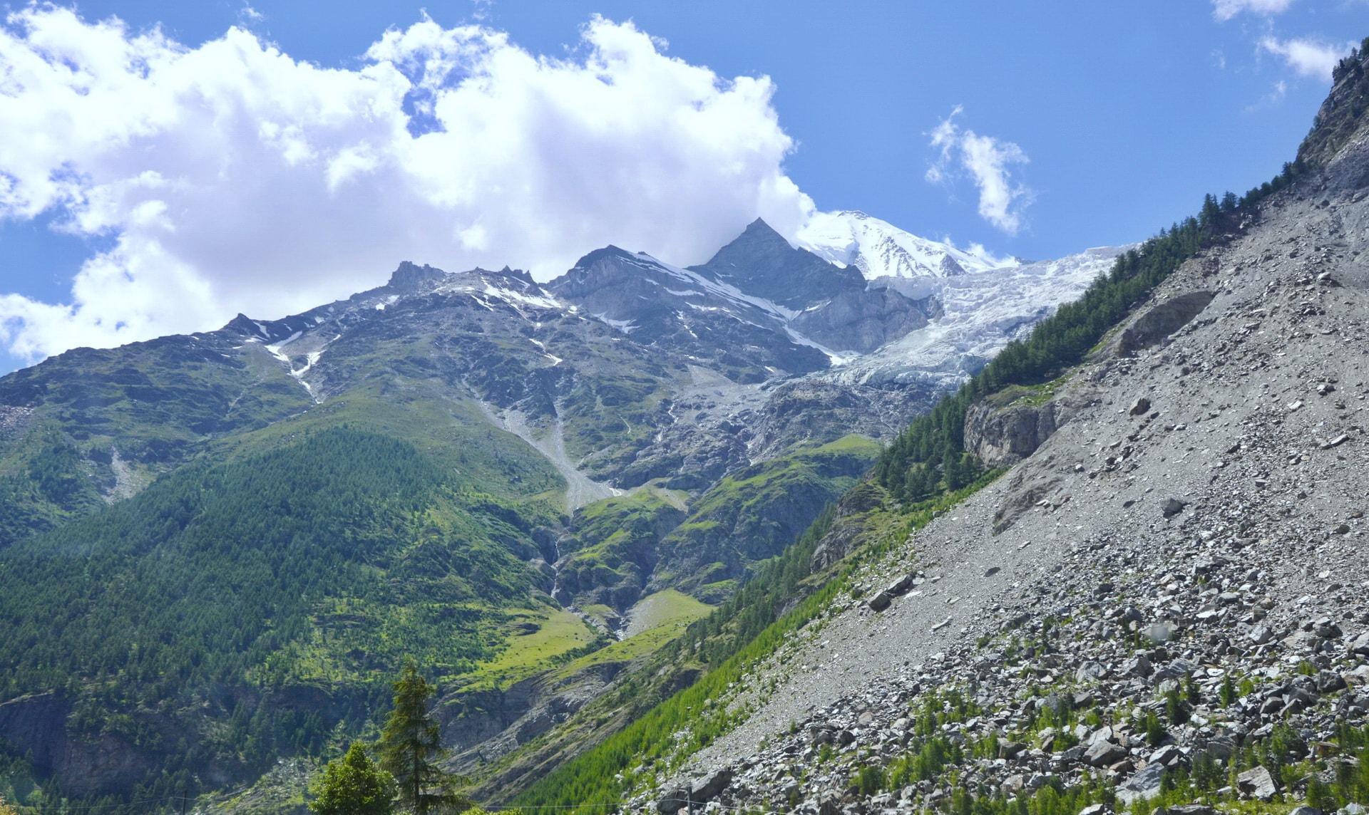 Zermatt is surrounded by high mountain peaks